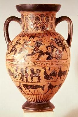 Attic black figure amphora depicting warriors fighting and fantastical animals