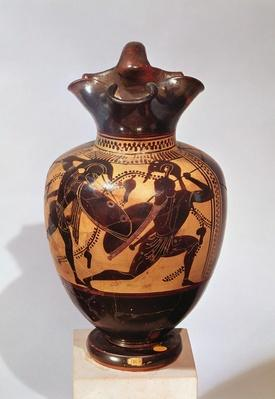 Black-figure oinochoe decorated with warriors, c.530-520 BC