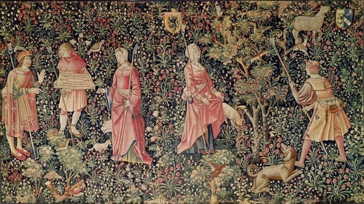 'Jeu de Marelle et Cueillette de Fruits', Loire Workshop, 1510 by French School, (16th century)