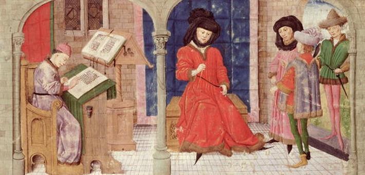 Ms 149 t.1 fol.1 The Scribe, from the 'Histoire des Nobles Princes de Hainaut', by Jacques de Guise