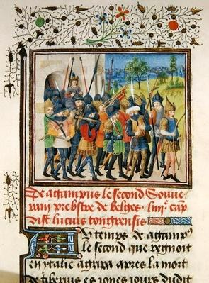 Ms 149 t.1 fol.45 An army on campaign, from the 'Histoire des Nobles Princes de Hainaut', by Jacques de Guise