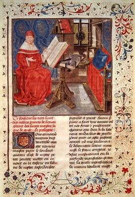 Ms 149 t.1 fol.4 Portrait of the author, from the 'Histoire des Nobles Princes de Hainaut', by Jacques de Guise