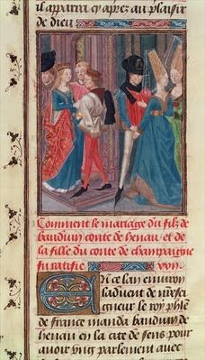 Ms 149 t.3 fol.105 Marriage of Baldwin VI and Marie, daughter of the Count of Champagne, from the 'Histoire des Nobles Princes de Hainaut', by Jacques de Guise