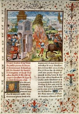 Ms 149 t.3 fol.172 The succession of Baldwin VI after the death of his father, Histoire des Nobles Princes de Hainaut, by Jacques de Guise