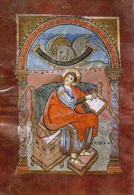 Ms 4 fol.101v St. Luke, from the Gospel of St. Riquier, c.800