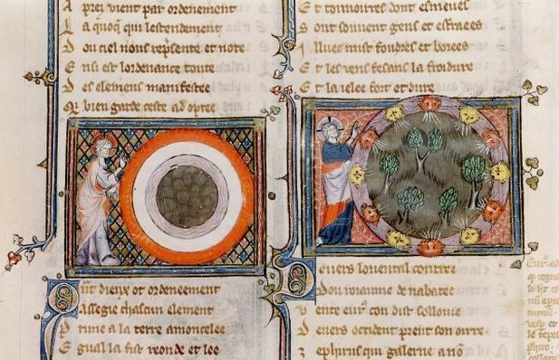 Ms 1044 fol.17v The Creation, from Ovide Moralise written by Chretien Legouais