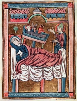 Ms 3016 fol.8 The Nativity, from 'Psautier a l'Usage de Paris'