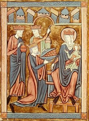 Ms 3016 fol.9v Adoration of the Magi, from 'Psautier a l'Usage de Paris'