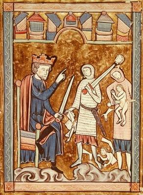 Ms 3016 fol.11v The Massacre of the Innocents, from 'Psautier a l'Usage de Paris'