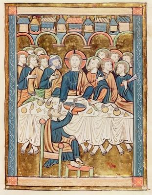 Ms 3016 fol.14 The Last Supper, from 'Psautier a l'Usage de Paris