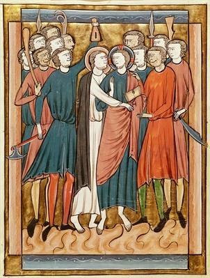 Ms 3016 fol.15v The Kiss of Judas, from 'Psautier a l'Usage de Paris'