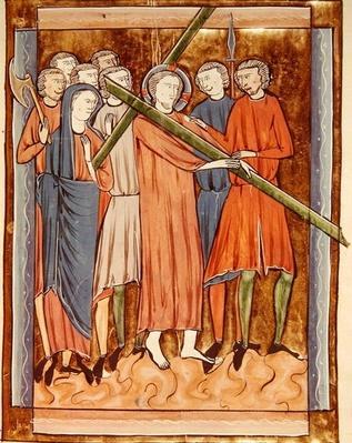 Ms 3016 fol.16 Christ Carrying the Cross, from 'Psautier a l'Usage de Paris'