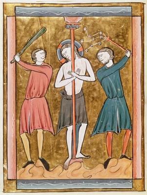Ms 3016 fol.17v The Flagellation, from 'Psautier a l'Usage de Paris'