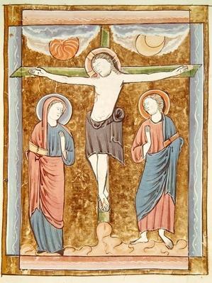 Ms 3016 fol.18r The Crucifixion, from 'Psautier a l'Usage de Paris'