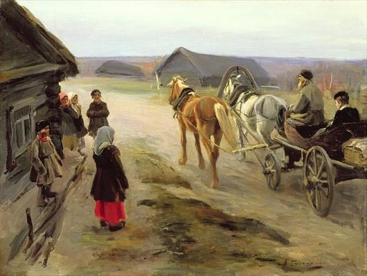 Arrival of a School-Mistress in the Country, c.1908-14