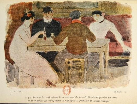Workers drinking, illustration from 'La Maison Philibert' by Jean Lorrain