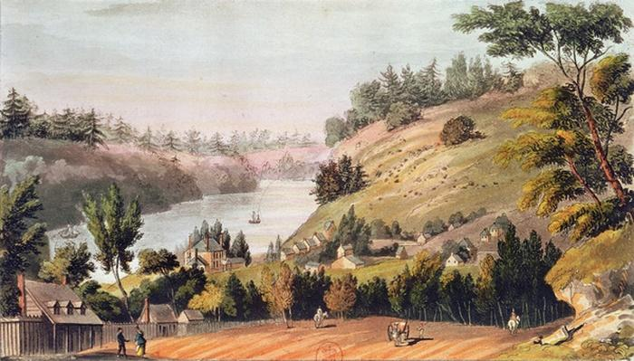 Queenston, On the Landing Between Lake Ontario and Lake Erie, from 'Ackermann's Repository of Arts', 1814