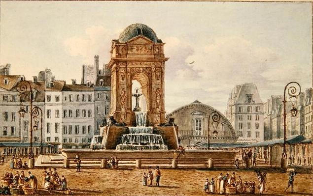 View of the Place and Fountain in the Marche des Innocents, Paris, c.1810