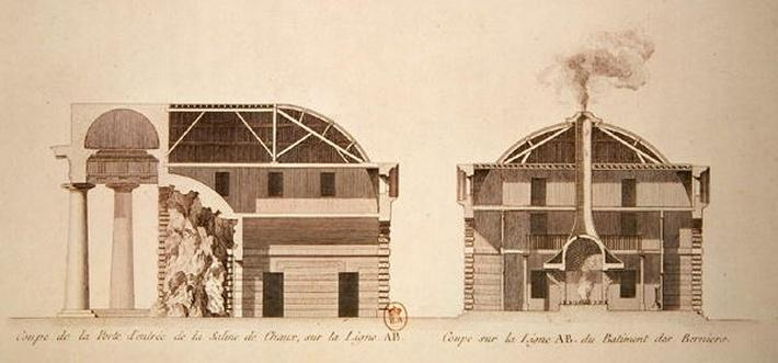 Cross-section of the entrance to salt works in the 'ideal city' of Chaux, c.1801