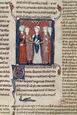 Ms 372 fol.168 A Marriage Scene, from 'Decrets de Gratien'