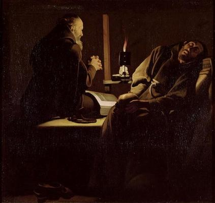 The Ecstasy of St. Francis, A Monk at Prayer with a Dying Monk, 1640-45