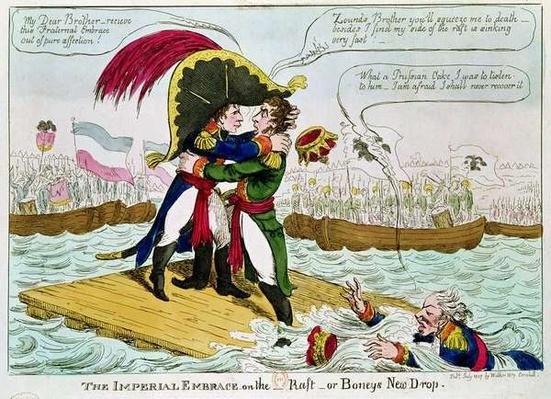 The Imperial Embrace or Boneys New Drop, published by Walker, London, July 1807