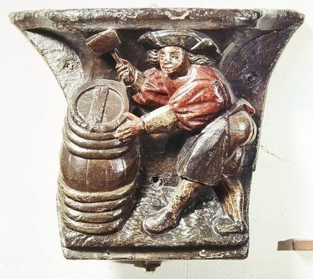 Misericord from a choir stall depicting a man hammering a barrel, from the Church of Saint-Etienne des Tonneliers, Rouen