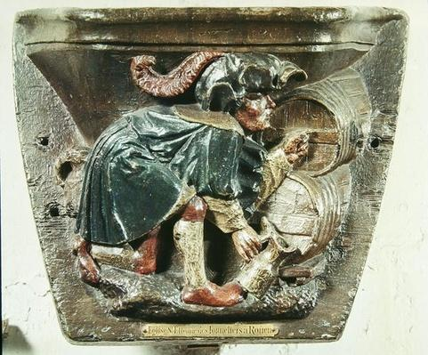 Misericord from a choir stall depicting a man testing wine, from the Church of Saint-Etienne des Tonneliers, Rouen