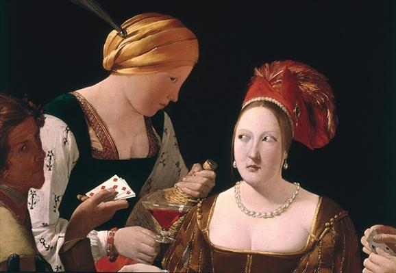 The Cheat with the Ace of Diamonds, detail depicting the two women, c.1635-40