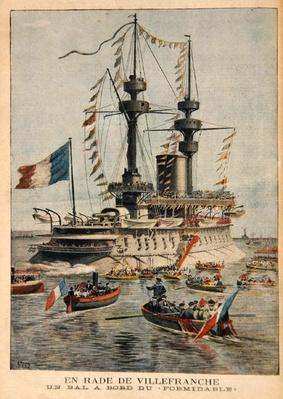 Villefranche Harbour, a ball on board the 'Formidable', illustration from 'Le Petit Journal', engraved by P.H.G.V. Michel, 1st March 1896
