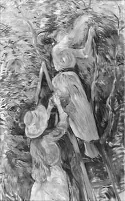 Picking cherries, 1891