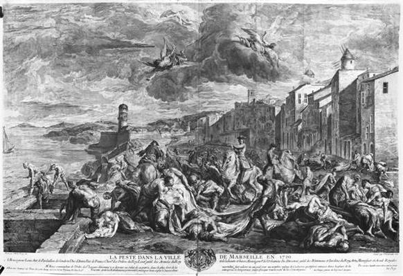 The plague of 1720 in Marseilles, engraved by Simon Thomassin