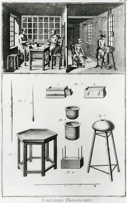 Buttons maker & lace maker, illustration from the 'Encyclopedia' by Denis Diderot