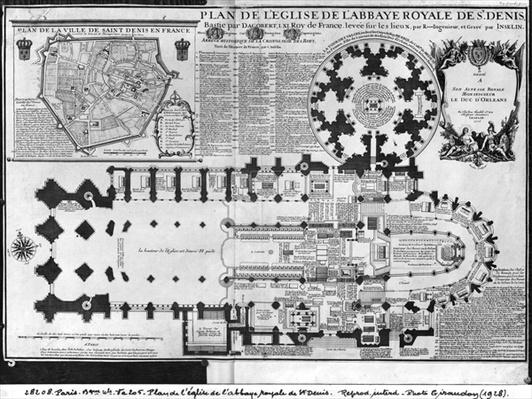 Plan of the Church of the Royal Abbey of St. Denis with the Valois Tower, 1705