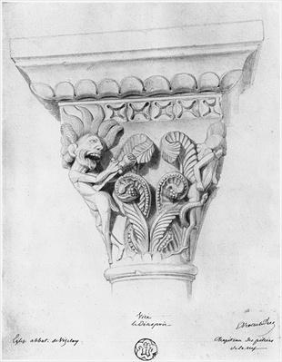 Capital illustrating the vice of despair, Abbey Church of La Madeleine, Vezelay, France