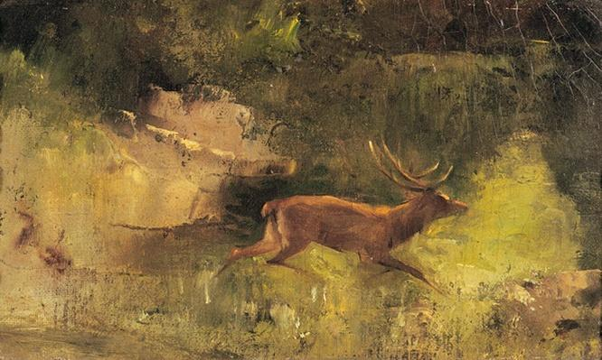 Stag Running through a Wood, c.1865