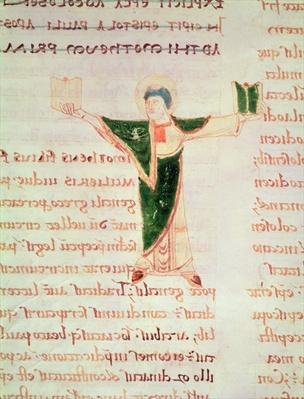 Ms 67 fol.188 Historiated letter 'T' from the Commentary on the Epistles of St. Paul