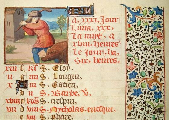 Ms 134 December: Slaughtering a Pig, from a Book of Hours