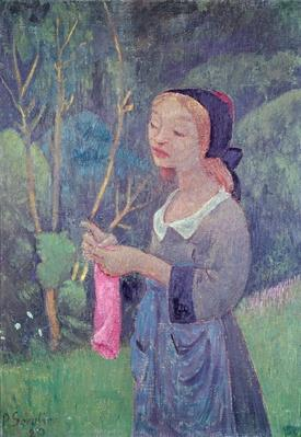 Young Girl with a Pink Stocking or Young Breton Knitting, 1920