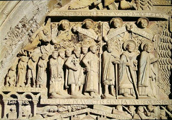 Detail from the Last Judgement on the tympanum on the West Portal, c.1140