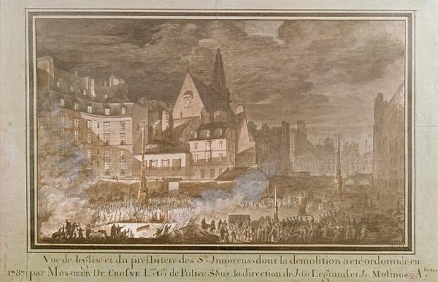 View of the Presbytery and Eglise des Saints-Innocents During Demolition, 1787