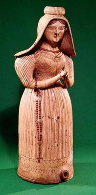 Bottle in the form of a woman with a headdress, Borne Workshop