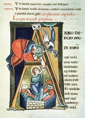 Ms 3 fol.233 Historiated initial 'A' depicting Daniel in the Lions' Den, from the 'Bible de Saint-Sulpice de Bourges'