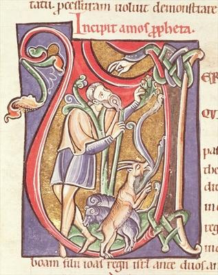 Ms 3 fol.234v Historiated initial 'V' depicting Amos, from the 'Bible de Saint-Sulpice de Bourges'