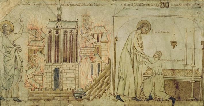 St. Eligius saving the Church of St. Martial from fire and curing a crippled man in the Church of St. Denis, from 'La Vie de Saint Eloi', c.1250