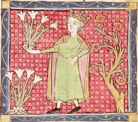 Fol.58v April: Picking Flowers