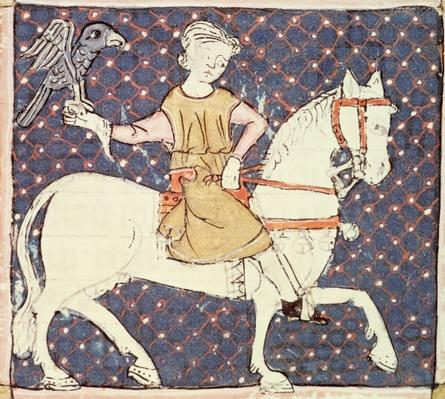 Fol.58v May: Falconry