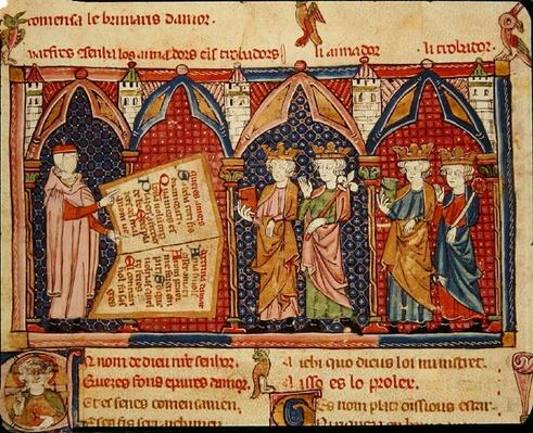 Fol.5v Master Ermengaut presenting his book to four kings