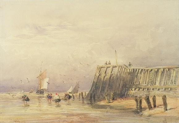 Seascape with Sailing Barges and Figures Wading Off-Shore, 1832