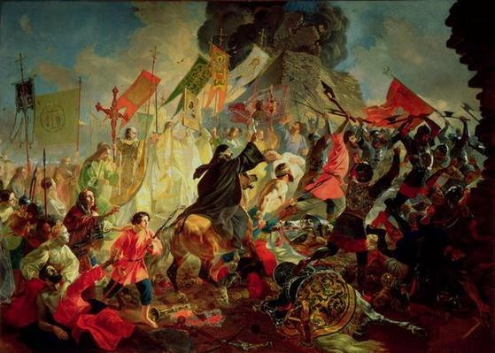 King Stephan IV Batory besieging Pskov in 1581